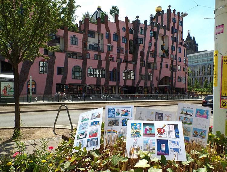 Magdeburg Germany World Happy Skyscraper Cartoons Tour