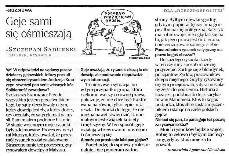 geje kozy Rzeczpospolita satyryk Szczepan Sadurski