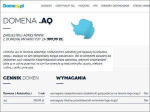 domeny internetowe Antarktyda domena internetowa