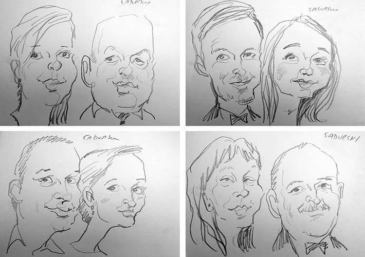 karykatury na żywo wesele karykaturzysta event atrakcje na wesele Poznań Wielkopolska