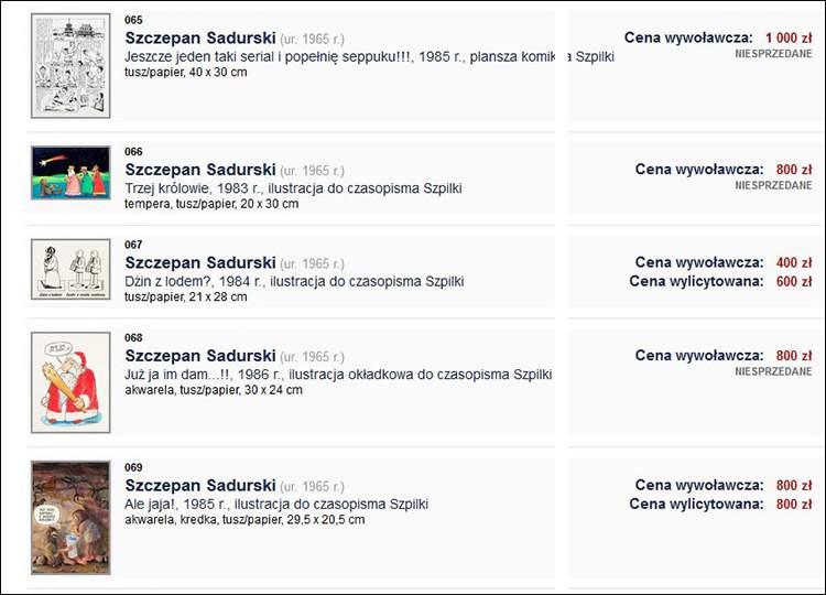 aukcje komiksu DESA Unicum sztuka Szczepan Sadurski