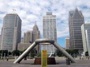 Detroit Michigan USA city wesoły wieżowiec