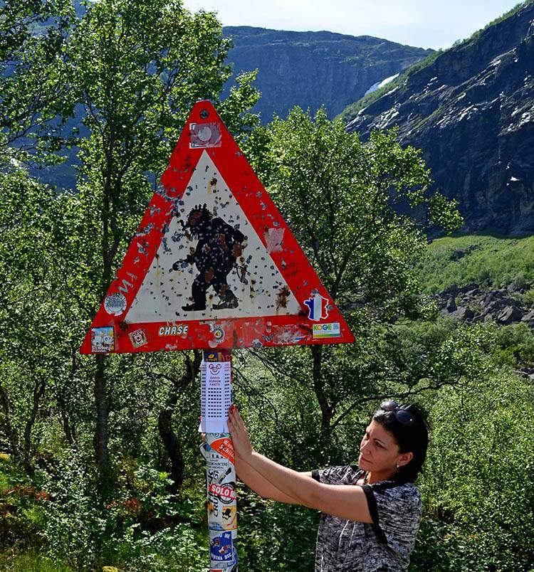 znak drogowy uwaga trolle Norwegia