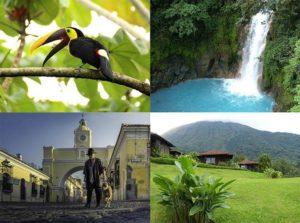 Ameryka Środkowa ciekawostki o Ameryce Środkowej wodo0spad góry zieleń zabytek tukan