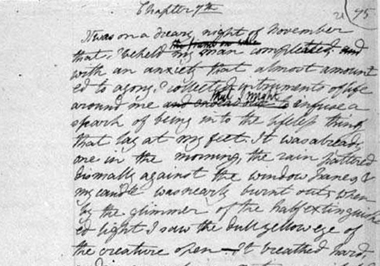 rękopis powieści Frankenstein ciekawostki o Frankensteinie Mary Shelley