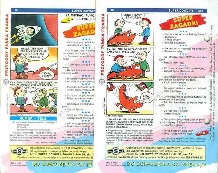punk Franek Przygody punka franka komiksy Super Dowcipy Szczepan Sadurski komiks