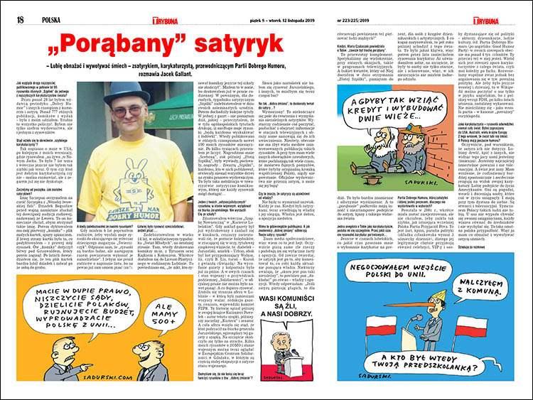 satyryk rysownik karykaturzysta Szczepan Sadurski wywiad Trybuna