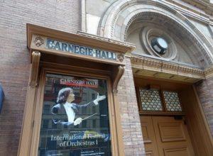 Carnegie Hall plakat gablota drzwi ciekawostki Nowy Jork