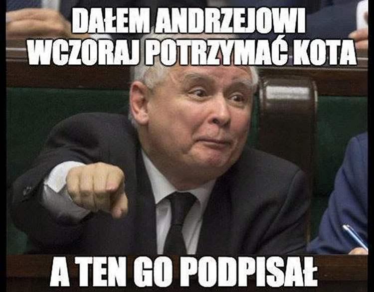 Jarosław Kaczyński prezydent Andrzej Duda memy satyra humor śmieszne obrazki