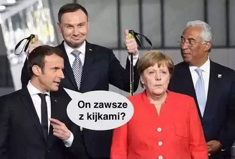 Merkel Macron prezydent Andrzej Duda memy satyra humor śmieszne obrazki