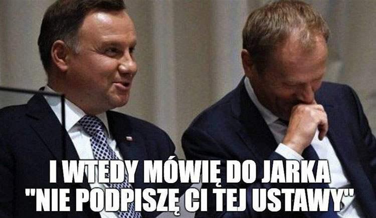 Tusk prezydent Andrzej Duda memy satyra humor śmieszne obrazki