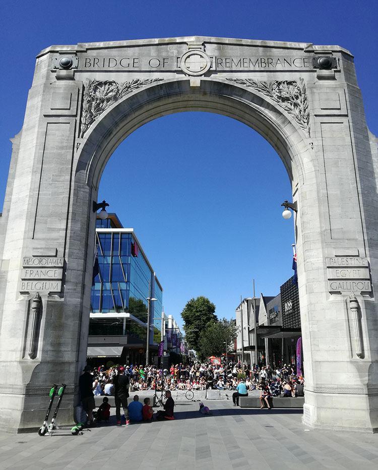 Bridge of Remembrance Christchurch Nowa Zelandia ciekawostki