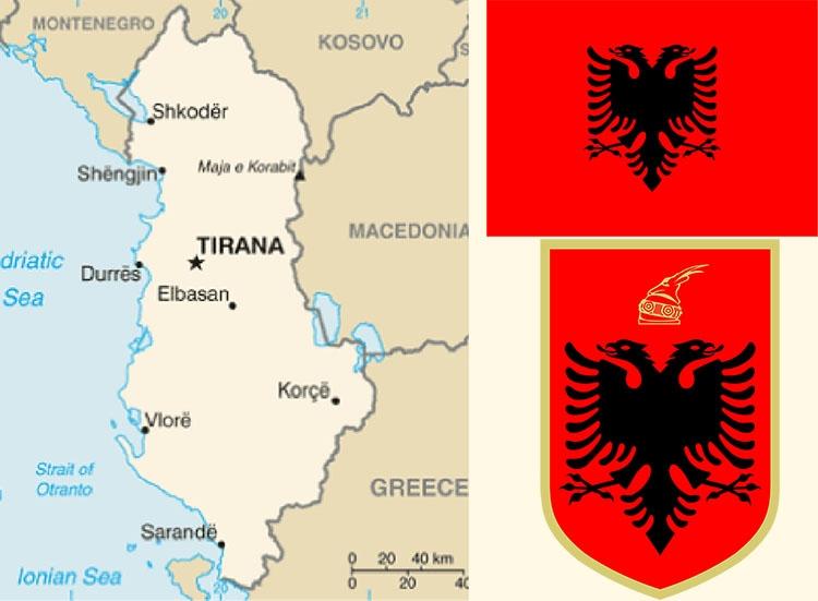 państwo Albania mapa godło herb flaga