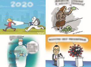koronawirus rysunki covid-19 humor satyra pandemia dowcipy