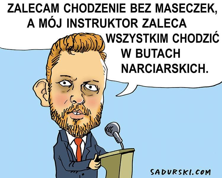 Łukasz Szumowski minister zdrowia humor dowcipy rysunki karykatury maseczki