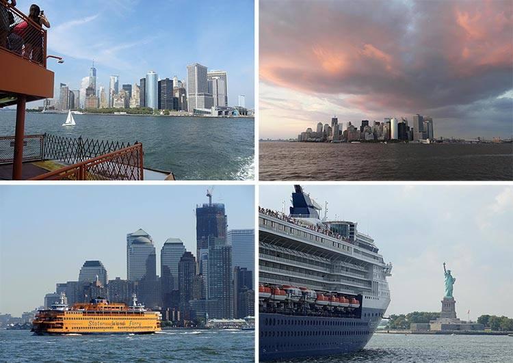 Staten Island Ferry Nowy Jork ciekawostki Manhattan Statua Wolności statki woda chmury prom