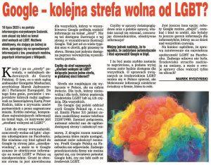 Google Polska kontakt telefon e-mail strefy wolne od LGBT ciekawostki