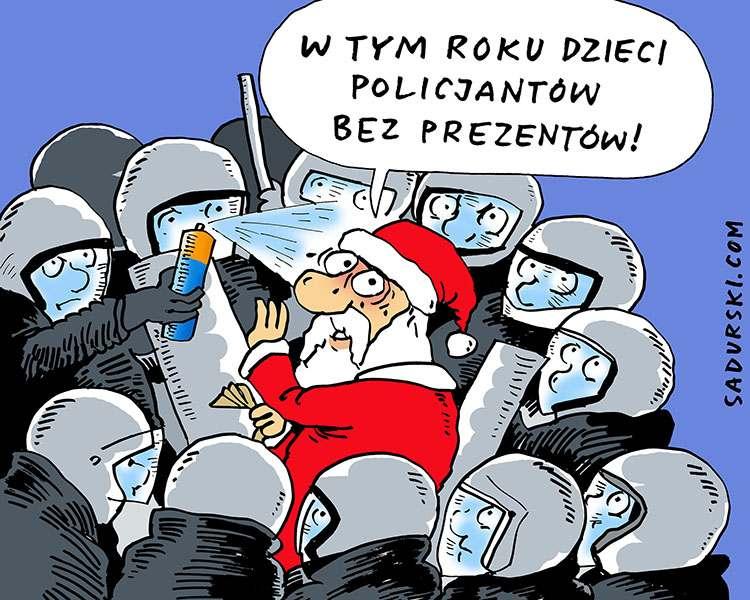 grudzień 2020 święty Mikołaj rysunek policja policjanci prezenty polityka karykatury