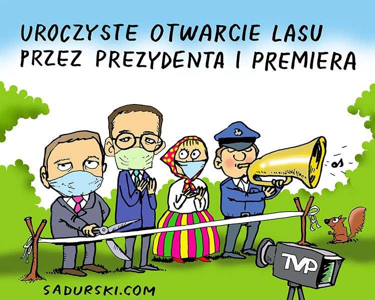 kwiecień 2020 prezydent Duda satyra pandemia koronawirus TVP las otwarcie lasu