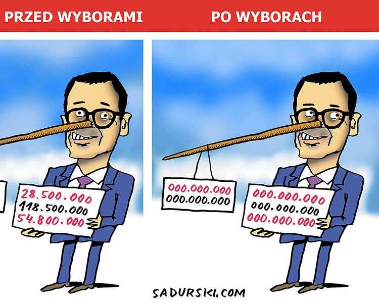 lipiec Mateusz Morawiecki premier pinokio karykatura rysunek satyryczny humor