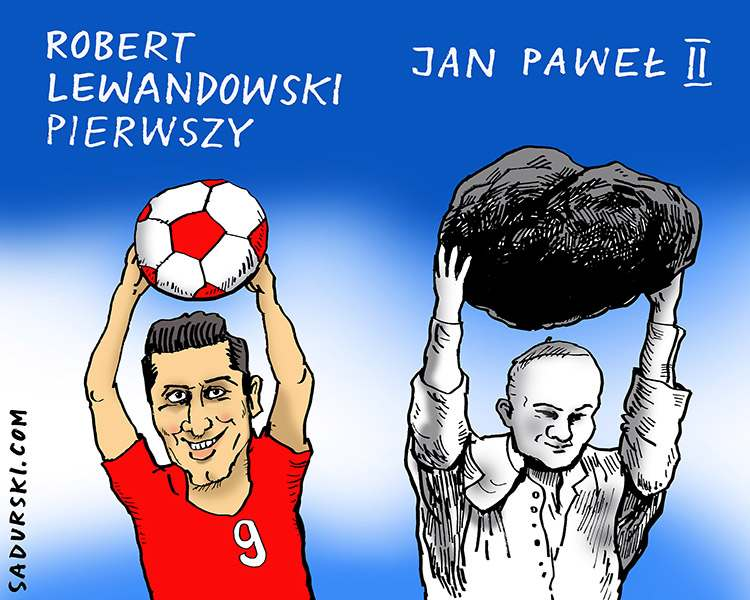 październik 2020 rysunek karykatura Robert Lewandowski Jan Paweł II piłka nożna