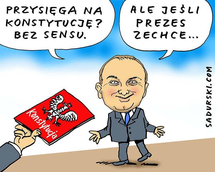 sierpień wybory prezydenckie 2020 Andrzej Duda zaprzysiężenie konstytucja humor