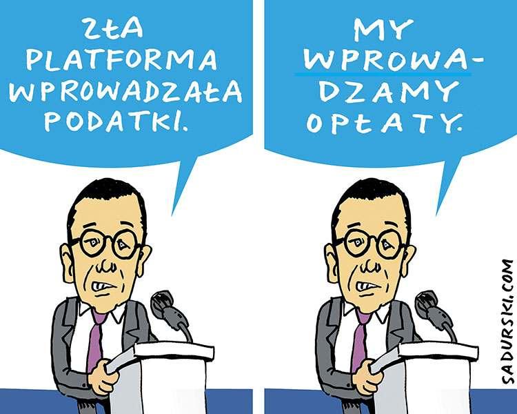 wrzesień 2020 rząd Mateusz Morawiecki premier podatki rysunek satyryczny humor