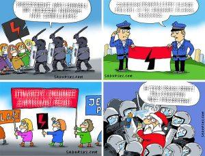 protesty strajk kobiet dowcipy rysunki satyra