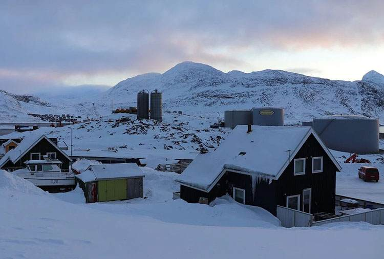 zima miasto Nuuk Grenlandia