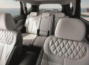 Santa Fe Plug-in Hybrid Hyundai samochód kabina fotele skórzane szare luksus