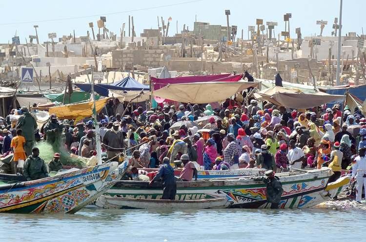 miasto St.Louis Senegal targ rybny rybacy łodzie