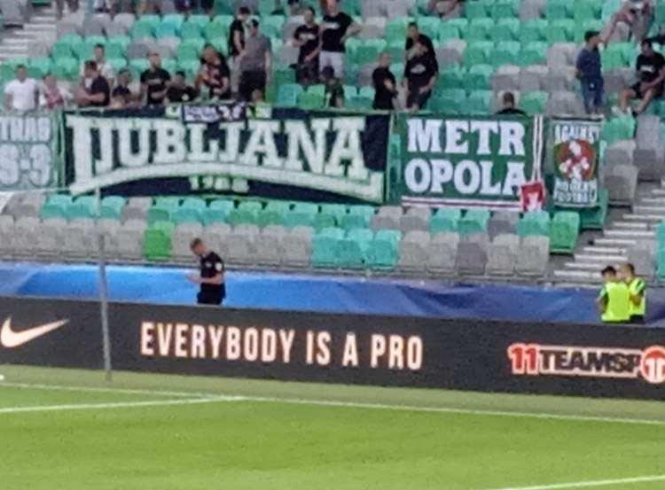 Ljubljana Słowenia kibice trybuna Zeleono Beli Zmaji